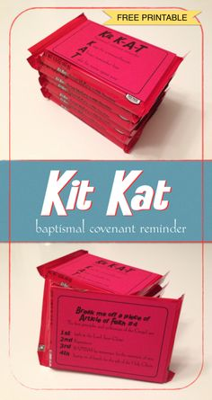 Kit Kat-Baptismal Covenant Reminder I found something similar to this online and when I went to print it the link was bad so I decided [. Mormon Baptism, Baptism Talk, Boy Baptism, Baptism Gifts, Lds Baptism Ideas, Lds Baptism Program, Primary Activities, Primary Lessons, Church Activities