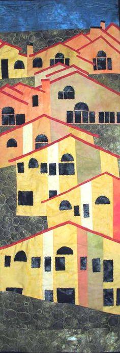 """McMansions"", 15 x 45"", by Loris Bogue - Art Quilts"