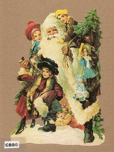 Santa omringt met kinderen poezieplaatjes 5023