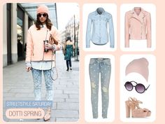 Street Style - How to restyle this cute street style with doted jeans and biker jacket.