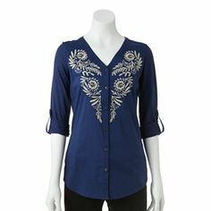 So pretty! | SONOMA life + style Embroidered Mixed-Media Shirt