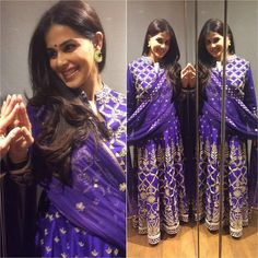 Genelia D'souza looks gorgeous in a royal purple #AnitaDongre anarkali and #pinkcity earrings. @jet_gems #bollywood #celebstyle #fashion #gotapatti #bespoke #bridal #embroidered #celebfashion #madeinindia #arwedding #beautiful #regal #timeless #elegant #royal #jaipur #inspired #colour #Indian #tradition