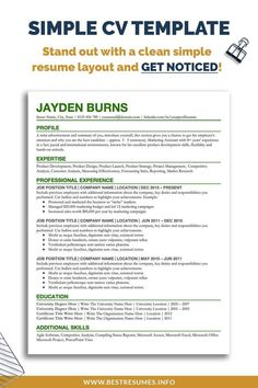 Update your old looking CV in minutes with this simple CV template. Don't waste time on creating a clean CV layout and the best CV format. Simply one this CV in Google Docs, edit it to your liking and submit your new CV to your dream job position. No need to install any fonts! This resume package comes with a free cover letter template and references page. You also get resume tips and unlimited resume support. Cv Template Student, Resume Cover Letter Template, Curriculum Vitae Examples, Curriculum Vitae Template, Resume Writing Tips, Resume Tips, Best Cv Formats, Create A Cv, Simple Resume Template