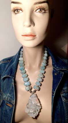 Aquamarine Necklace, Aquamarine Blue, Silver Beads, Sterling Silver Chains, Eternity Ring, Aqua Blue, Birthstones, Gemstones, Dominican Republic