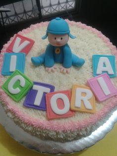 POCOYO CAKE, BUTTERCREAM FROSTING, DETAILS ON FONDANT