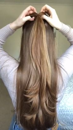 Braids For Thin Hair, Hairdo For Long Hair, Bun Hairstyles For Long Hair, Diy Hairstyles, Style Long Hair, Easy Braided Hairstyles, Blonde Hairstyles, Elegant Hairstyles, Hair Tips Video
