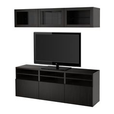 Ikea TV storage combination with pushopen drawers and glass doors Lappviken Sindvik blackbrown clear glass 20202261423262 -- Amazon most trusted e-retailer