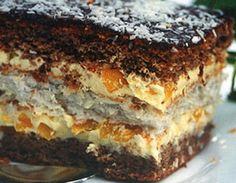 Ciasto z masą brzoskwiniową - Przepis - Onet Gotowanie Polish Desserts, Polish Recipes, Cookie Desserts, No Bake Desserts, Sweet Recipes, Cake Recipes, Dessert Recipes, Sweets Cake, Cupcake Cakes