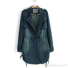 Top Quality Long Nipped Waists Euramerican Lapel Jeans Trench Coat : Tidebuy.com