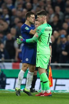 LONDON, ENGLAND - FEBRUARY Cesar Azpilicueta and Kepa Arrizabalaga of Chelsea during the Carabao Cup Final between Chelsea and Manchester City at Wembley Stadium on February 2019 in London, England. (Photo by James Williamson - AMA/Getty Images) Chelsea Football, Chelsea Fc, Wembley Stadium, It's Going Down, English Premier League, Roman Reigns, Goalkeeper, Manchester City, Football Players