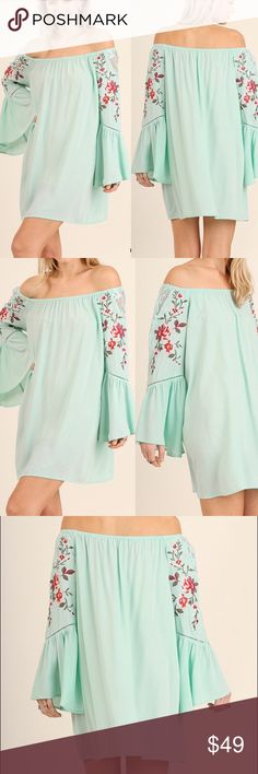 """🆕 Floral embroidered off shoulder Boho dress Beautiful embroidery on soft knit fabric On or off shoulder style with awesome long bell sleeves Easy relaxed fit, oversized and flowy Pull over style Slight sheer Material: 60% cotton, 40% polyester Model is 5'8"""" and is wearing a small.  Measurements: Length measured from center to bottom hem is approx 28.5"""" S:  Bust laying flat unstretched - 44"""", Length:28""""  M:  Bust measured laying flat unstretched -46""""  Length:28.5""""  Large: Bust laying flat…"""