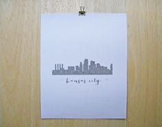 KANSAS CITY City Skyline Glitter Print 8x10 by LittleYellowLeaf, $16.00