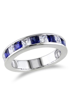 2 3/8 ct Created White & Blue Sapphire Ring In Silver