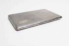 Vintage Cigarette Case holder in silver metal, card case, engine turned art deco design, EPNS silver plate Har Bro England, mad men, smoker by EbyVintage on Etsy