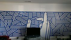 3 rolls of blue tape, 6 hours, and boredom and now i have a new wall mural - Imgur