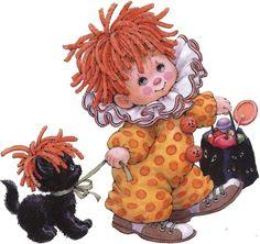 *TOLE - TALLY CUTE ~ ruth morehead clowns | enfants en clown avec des bonbons et son chat 24