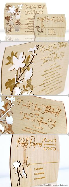 """Floral design, laser cut wood wedding invitations. These floral wedding invitations and accompanying response cards feature stunning engraved detail. Laser cut into 1/16"""" wood planks. http://www.invite-design.com/#!product/prd12/4250342305/summer-day-invitation-with-rsvp"""