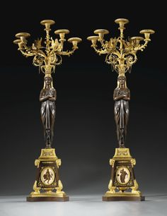 A pair of gilt-bronze and patinated bronze hard-paste porcelain–mounted candelabra attributed to Pierre-Philippe Thomire (1751-1843), the porcelain attributed to Piat-Joseph Sauvage (1744-1818)
