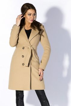 7026ff3851d8 Rylko - Manteau classique à grand col en feutre de laine épaisse avec  ceinture