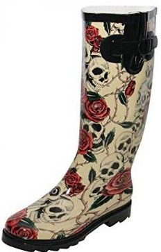 Ladies New Skull Roses Welly