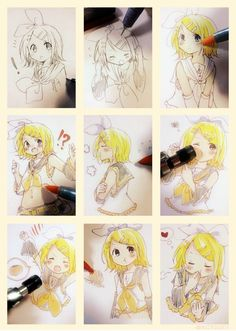 Rin Kagamine (Vocaloid) I want to be able to draw her all cutely like that xD