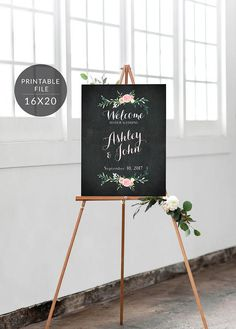 Welcome to Our Wedding Sign Chalkboard Floral Customizable