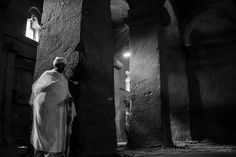Priest in one of the rock churches in Lalibela