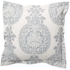 Pottery Barn Lucianna Medallion Sham ($40) ❤ liked on Polyvore featuring home, bed & bath, bedding, bed accessories, grey, cotton pillow shams, gray bedding, pottery barn pillow shams, gray damask bedding and pottery barn duvet