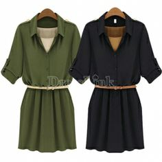 $ 15.61 Elegant Ladies Women's Lapel Tunic Belted Slim Pure Color Chiffon Princess Dress With Belt