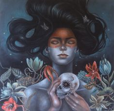 """Past and Seeds by artist Ingrid Tusell. Oil on canvas, 24"""" x24"""" - SOLD"""