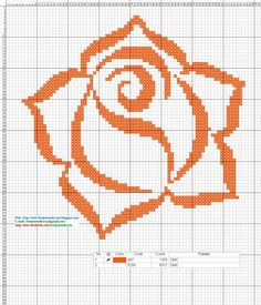 Rosa color naranja - patron punto de cruz