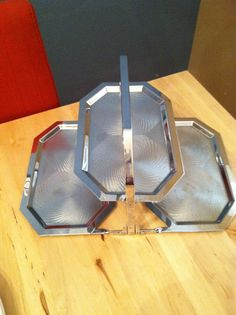 1950s Atomic 3 Tier Serving Tray Collapsible by VintagebyJen, $26.00