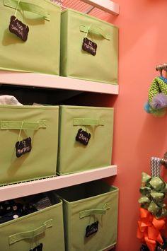 Closet Organization for Triplet Nursery