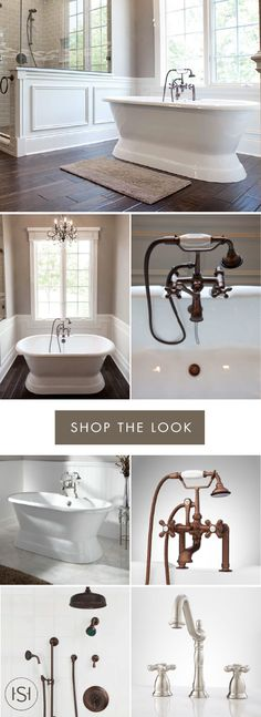 Enjoy spa-like relaxation every day by recreating this timeless design in your master bath. The Henley Soaker Tub, Telephone Tub System, and Pressure Balance Shower System from Signature Hardware all help create the luxurious feel of this bathroom inspiration.
