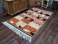 """Genuine Moroccan Rug, Berber weave of the Atlas Mountains 3x6 Gorgeous Azilal Moroccan Vintage Rug 6' x3'4"""" Multi-Color Beni Ourain. 