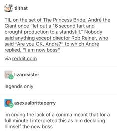"""Princess Bride: """"I am now boss"""" - Andre the Giant My Tumblr, Tumblr Funny, Funny Memes, Funny Cute, The Funny, Hilarious, Text Posts, Lyric Quotes, Movie Quotes"""