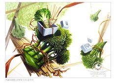 브로콜리, 나무젓가락, 컴퓨터 자판 Colorful Drawings, Medium Art, Plant Hanger, Watercolor, Plants, Painting, Image, Design, Home Decor