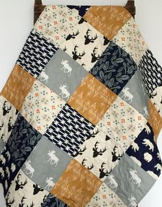 Baby Quilt Boy Southwest Moose Woodland Buck Forest by CoolSpool