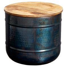 Handgemaakt drum table met afneembaar tafelblad van mangohout. 35x35x31 cm (lxbxh). #kwantumstijl #drumtable