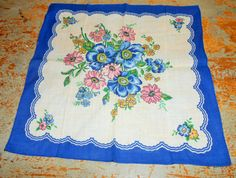 Vintage Handkerchief Blue Pink Yellow Floral Ladies by TheBackShak