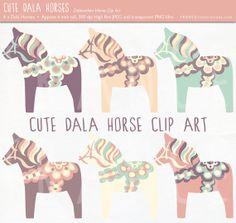 Cute Dala Horse Clip Art. Pastel Color Nordic Folk Art Designs. Swedish Scandinavian Clipart. Dalahäst/Dalecarlian horse. Commercial Use.