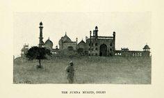 1896 Print Jumna Musjid Delhi India Edwin Lord Weeks Architecture Tower XGAF9
