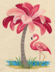 Flamingo Tree design (M3656) from www.Emblibrary.com