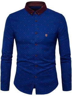 Fashionmia - Fashionmia Polka Dot Button Down Collar Men Shirt - AdoreWe.com