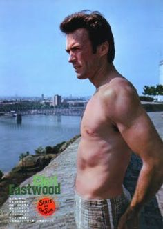 American actor Clint Eastwood dressed in a swimsuit looks down over an unidentified river Vizinada Yugoslavia 1969 Clint And Scott Eastwood, Actor Clint Eastwood, Classic Hollywood, Old Hollywood, Mel Gibson, Sean Connery, Star Wars, Film Director, American Actors