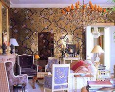 New Orlean, Nicky Haslam - Smith's Salon Soniat House International Interior Design, Decor, Home Interior Design, Gold Chinoiserie Wallpaper, Decor Design, Beautiful Interiors, Interior Design, House Interior, Soniat House