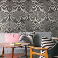 Art Deco Fans Wallpaper – Black & Grey from Gatsby Wall Grandeur - R399 (Save 0%)