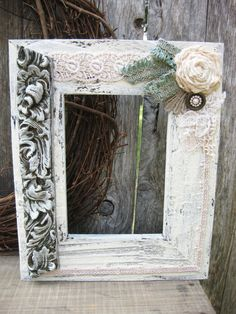 Shabby chic couture picture frame.  Vintage wedding, nursery....even pretty for unique Christmas decor!