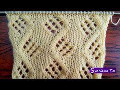 Узор Зигзаг с Ажурными ромбами. Вязание спицами # 72 - YouTube