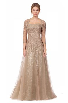 Style 4140 - Liancarlo - Petite Flower embroidery on tulle over sequins strapless gown in Gold.  Shown with style 4141, matching ¾ sleeve bolero.